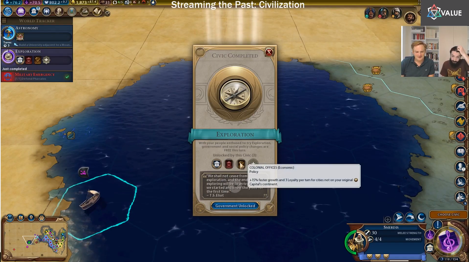 Streaming the Past: One More Turn 8
